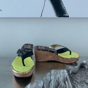 Dolce Vita Yellow & Snakeskin Platform Sandals